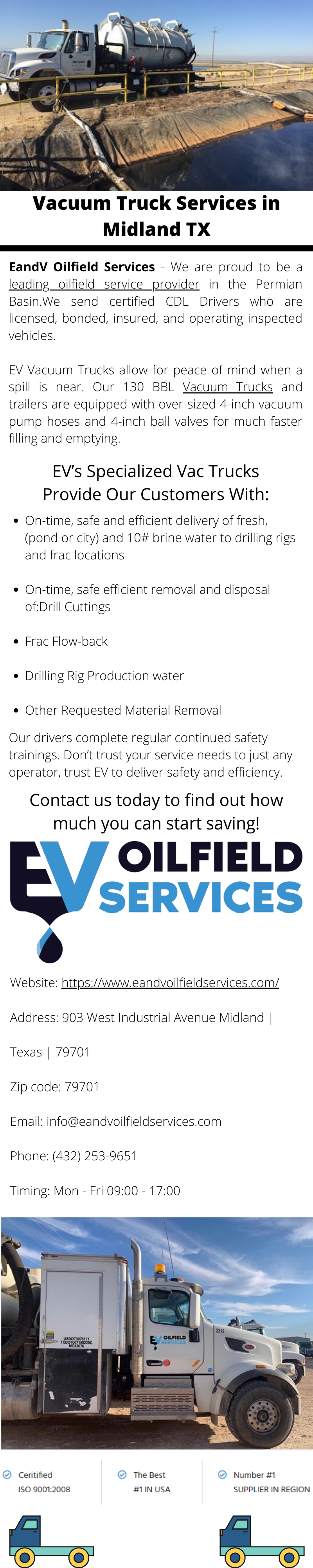 Ev Vacuum Trucks Allow For Peace Of Mind When A Spill Is Near Our 130 Bbl Vacuum Trucks And Trailers Are Equipped With Over Siz In 2020 Midland Texas Oilfield Midland