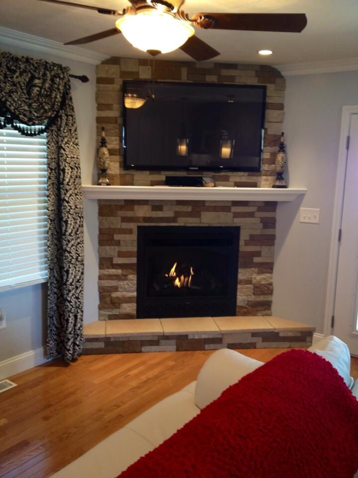Stone Fireplace With Ventless Gas Insert House Design House Fireplace