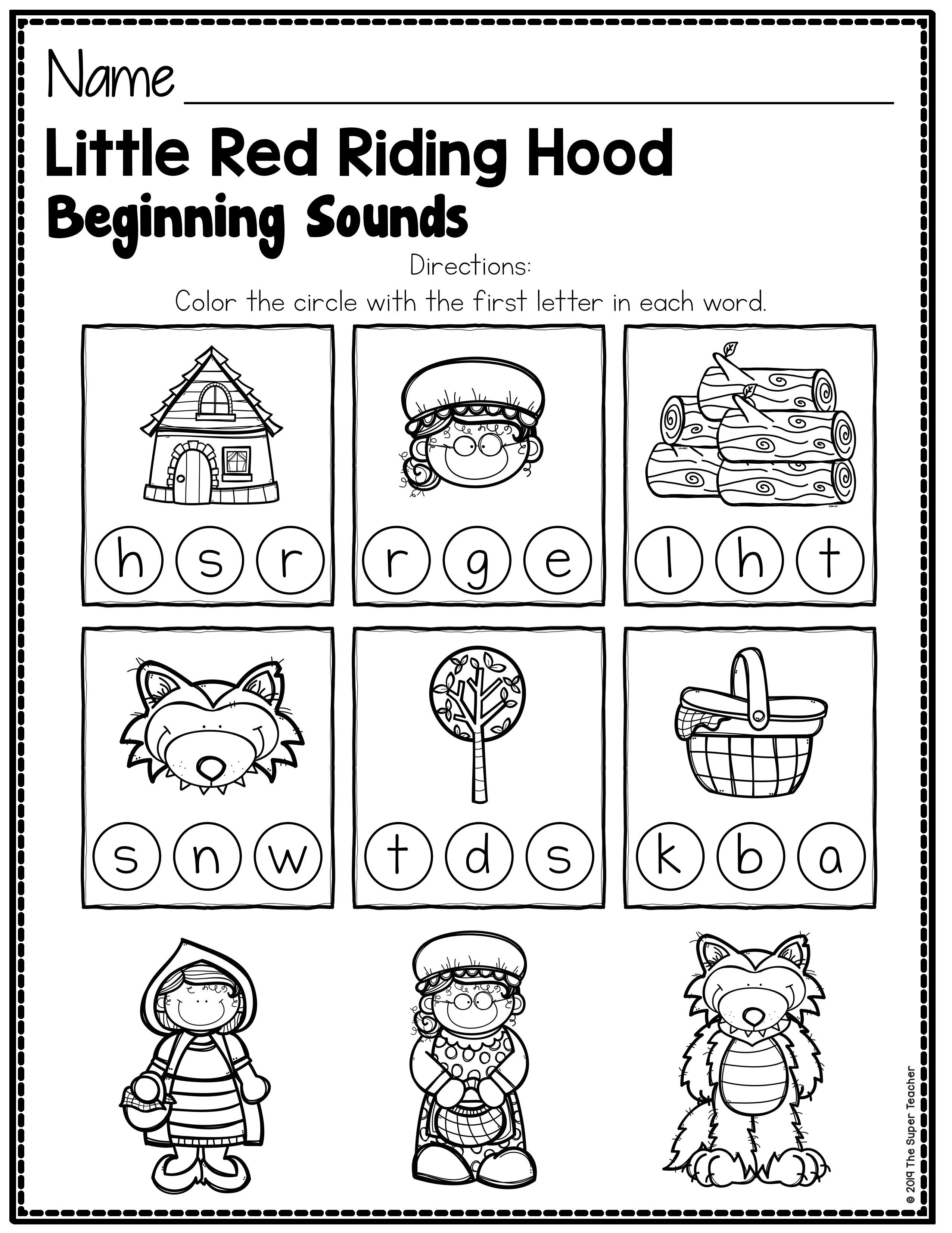 1st Grade Phonics Worksheets - All About Worksheet   Little red riding  hood [ 3300 x 2550 Pixel ]