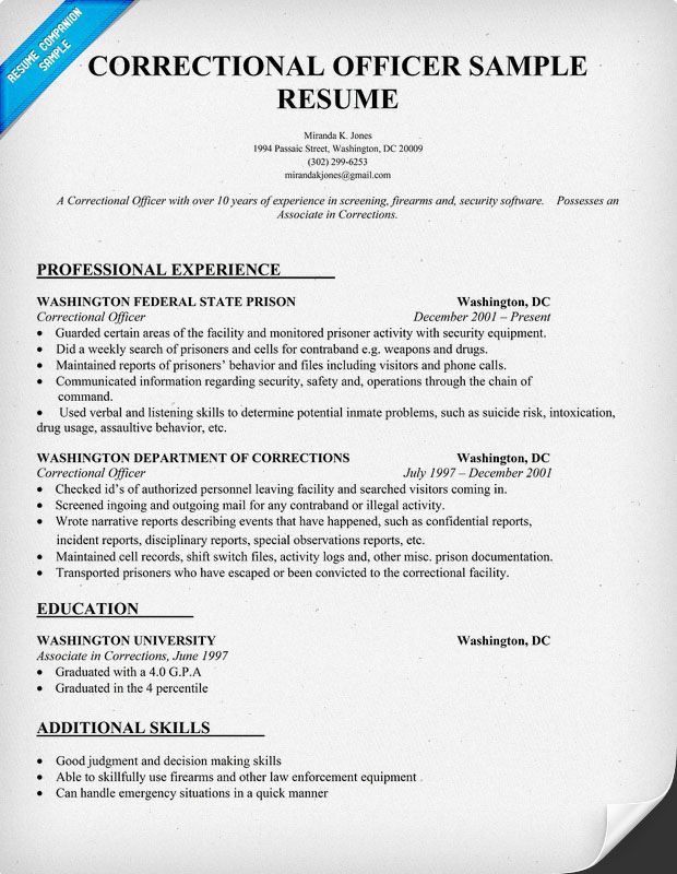 Correctional Officer Resume Sample  Law ResumecompanionCom