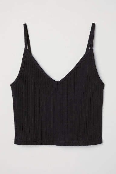Short Jersey Camisole Top - Black -    H&M US #blackcroptops