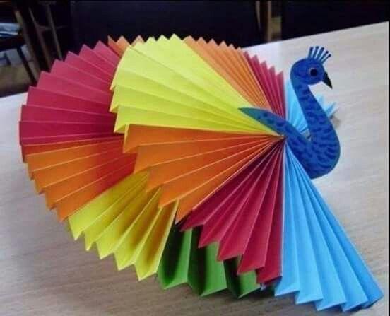 Hermoso hecho de hojas de colores y una gran imaginaci n manualidades manualidades - Manualidades con papel craft ...
