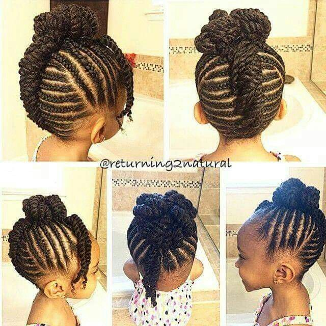 Little Girl Natural Hair Braided Cornrows