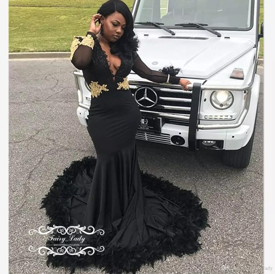 black mermaid prom dresses sheer long sleeves feather gold