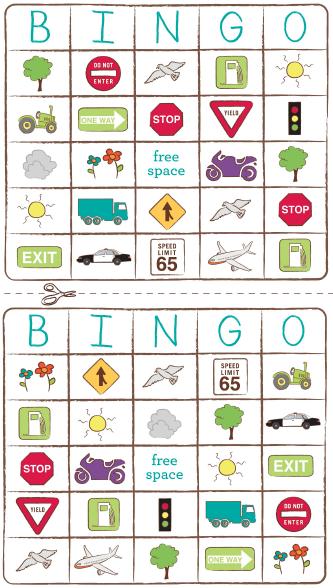backseat bingo travel printables