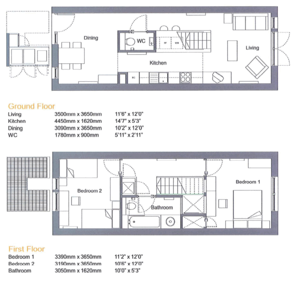 Delightful Floor Plan For Two Bedroom Terraced House By Proctor And Matthews