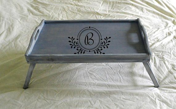 Large Breakfast Tray Bed Tray Tray With Legs Initial Tray Personalized Serving Tray Blue Tray Decorative Tray Custom Bed Tray Breakfast Tray Bed Breakfast Tray