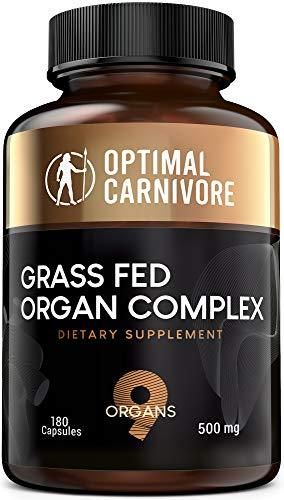 28+ Grass Fed Organ Complex, Desiccated Beef Organs   Beef Liver, Brain, Heart, Thymus, Kidney, Spleen, Intestines, Pancreas, Lung, Ancestral Formula 180 Capsules by Optimal Carnivore   180 Count Pack of 1