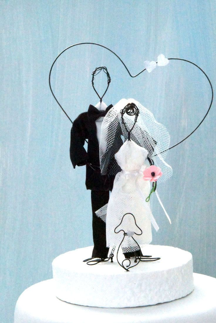 Wedding cake topper bride groom wedding cake topper dog wedding