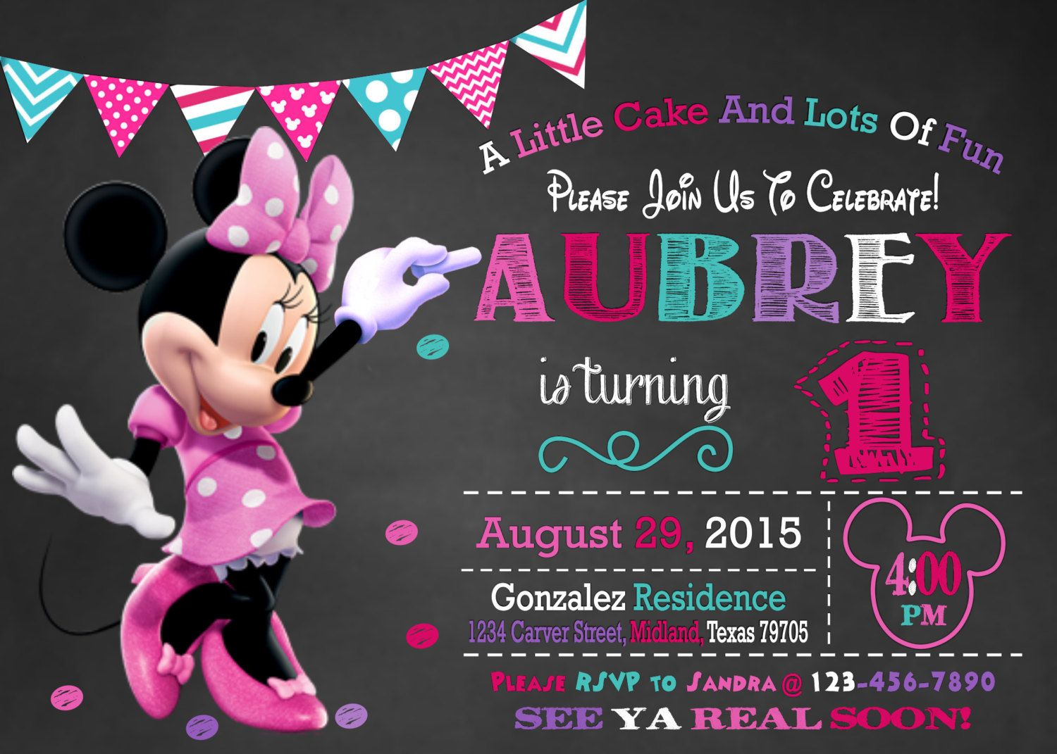 1st birthday invitation MINNIE MOUSE Birthday INVITATIONS