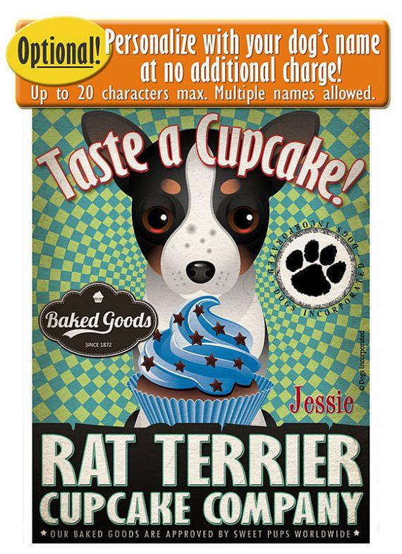 Rat Terrier Cupcake Company Original Art Print Custom Dog