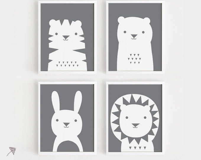 art print download Nursery Art Set of 4 Animal Poster Tiger Bear ...