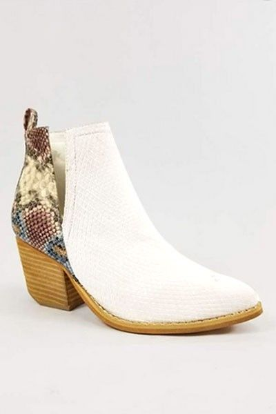 Stacked Heel Ankle V-Slit Side Cutout Closed Toe Booties -White & Multi-Colored Snake Print #snakeprintbootsoutfit