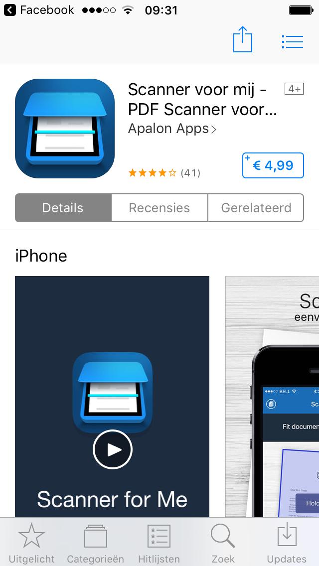 Scanner app Apps, Hitlijsten, Scanner