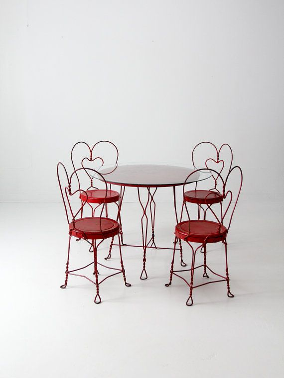vintage ice cream parlor table set with 4 chairs by 86home on etsy rh pinterest com