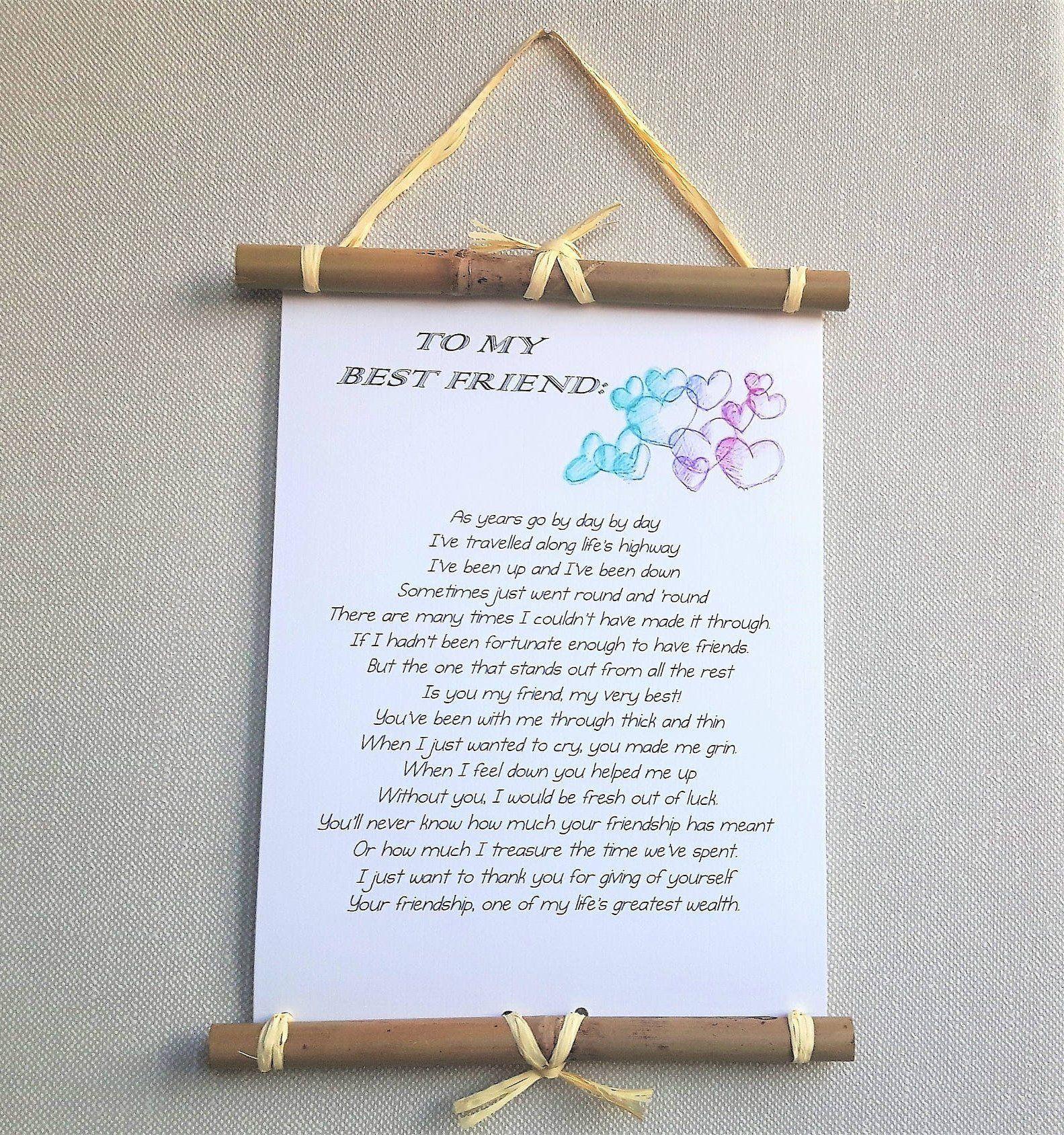 Custom poem print best friend gift personalized poem