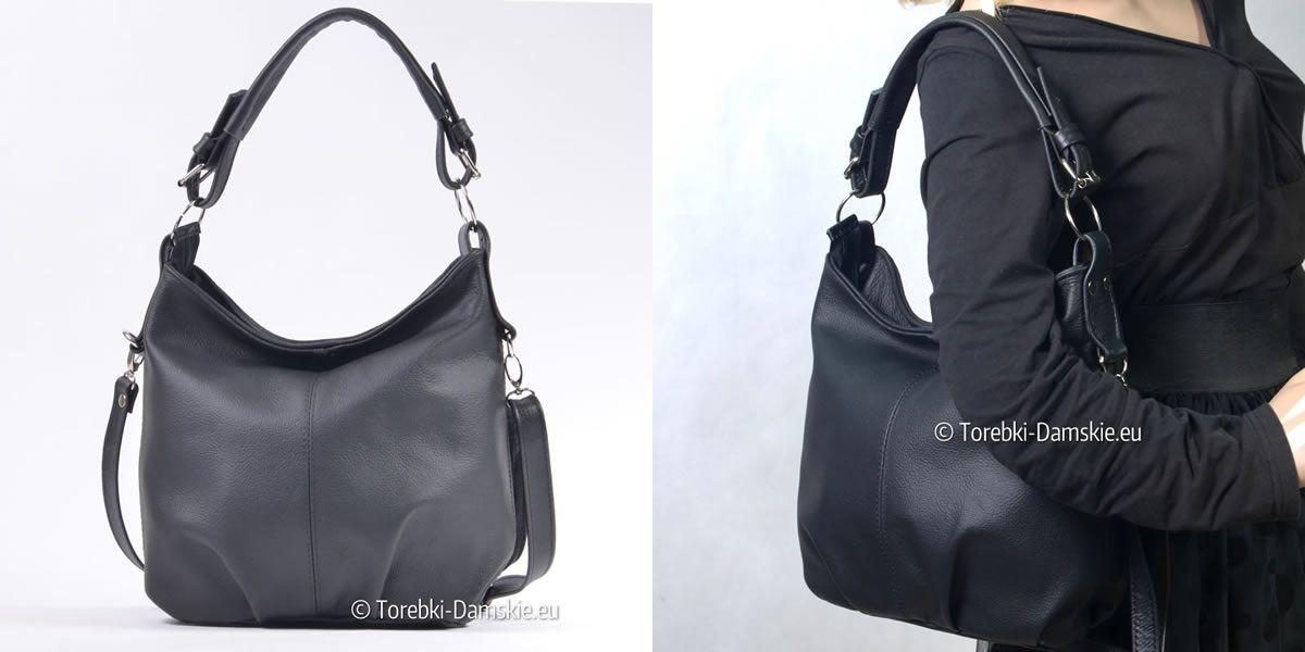 Czarna torebka skórzana, produkt polski. Wykonana w całości