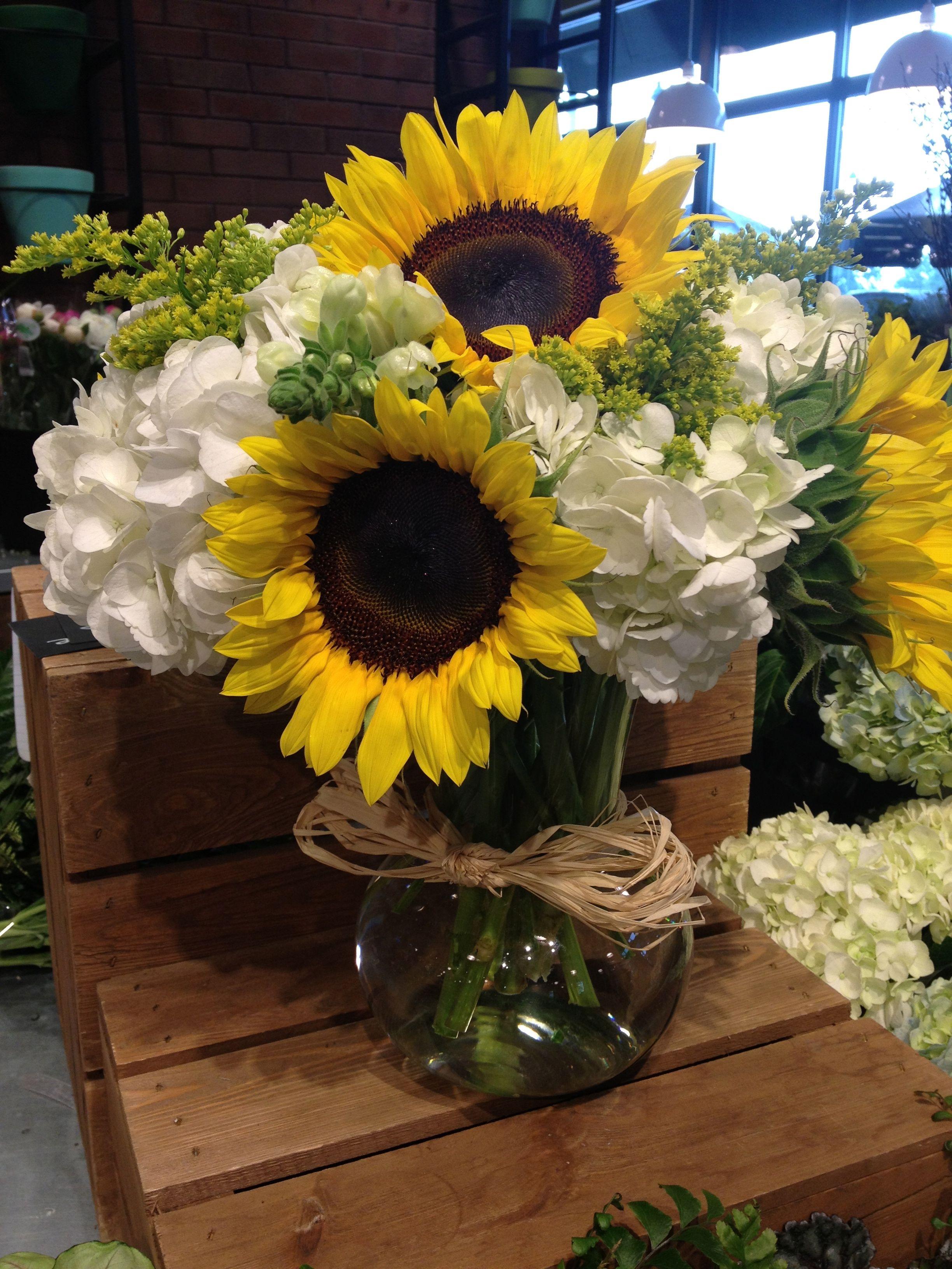 Sunflower and hydrangea flower arrangement love