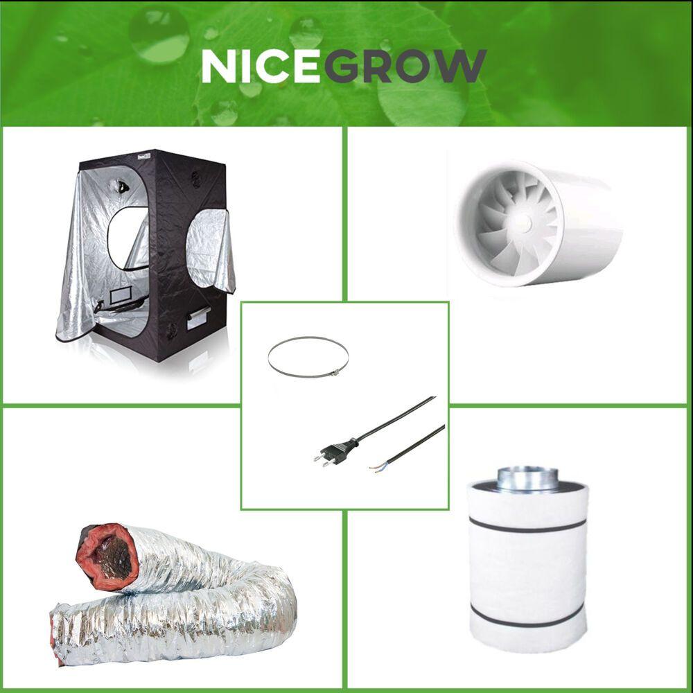 Growbox Growzelt 120x120x200cm Inkl Silient Quiet Abluft Aktivkohlefilter 125mm Abluft Gartenbau Sonnenschutz