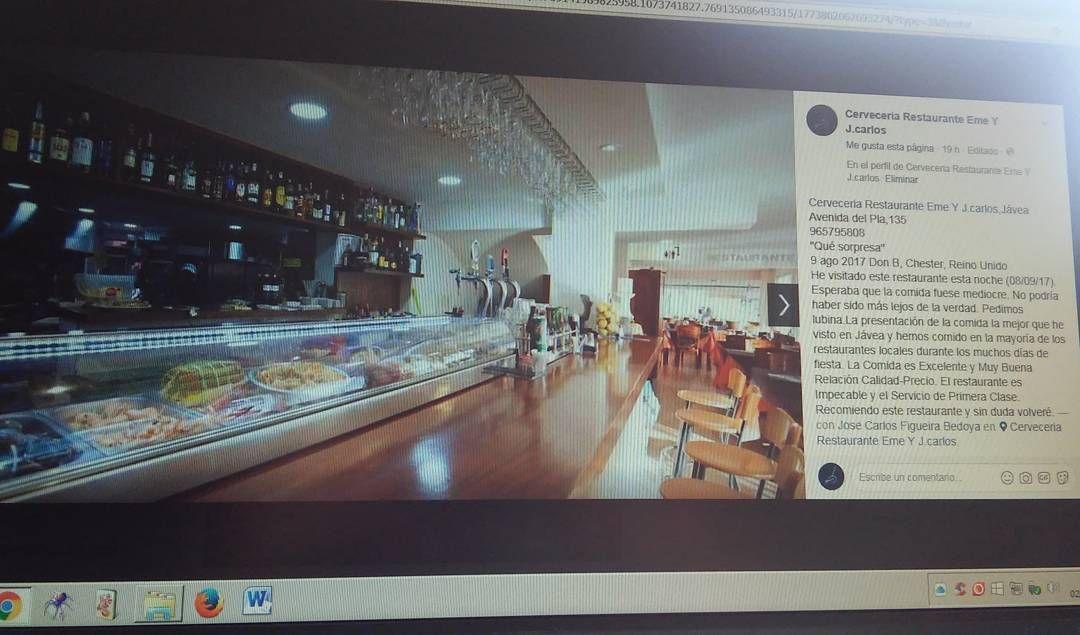 Cerveceria Restaurante Eme J Carlos Javea Avenida Del Pla 135 965795808 La Comida Es Excelente Y Muy Buena Calidad Precio In 2020 Television Flat Screen Flatscreen Tv