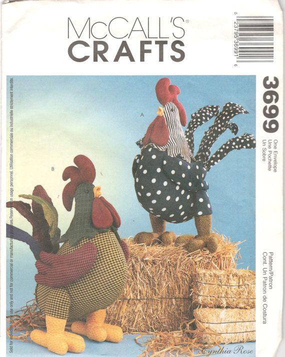McCalls 3699 Rooster Dolls Pattern Patchwork Soft Sculpture Designer ...
