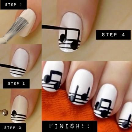 Music Note Nails Tutorial Black White Diy Nail Art Designs