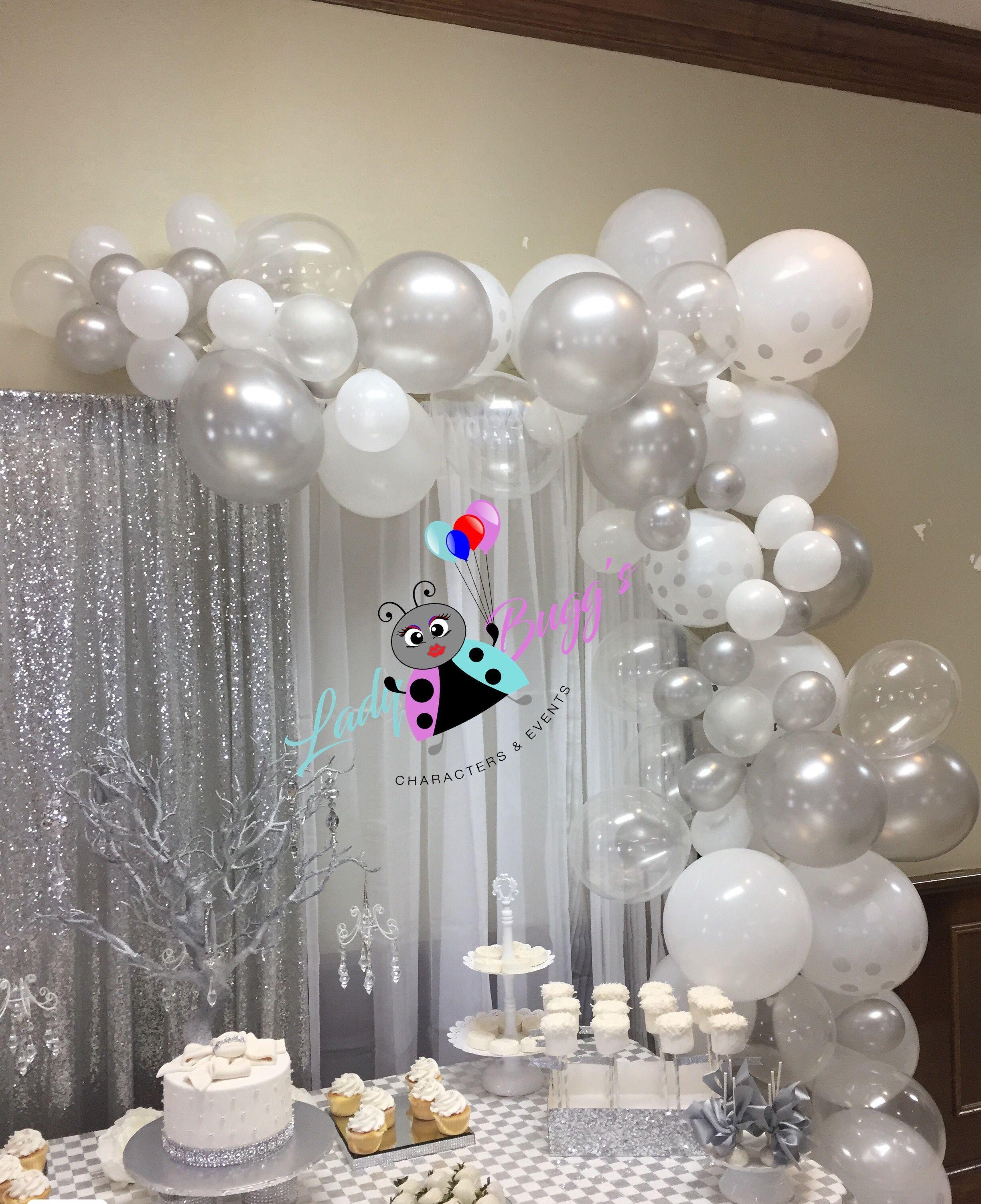 White u0026 silver organic balloon garland Balloon