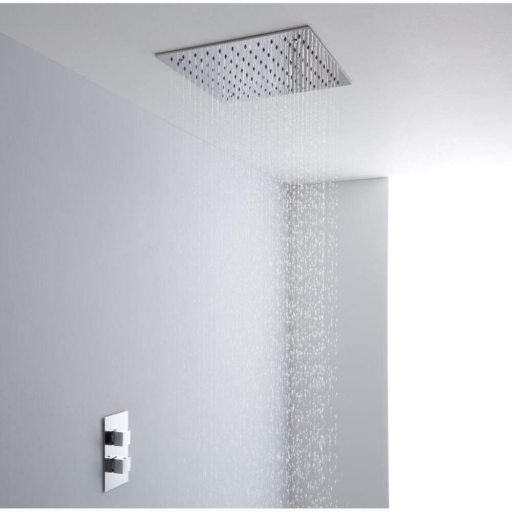 Milano 400mm square ceiling tile fixed shower head chrome 400mm square ceiling tile fixed shower head chrome image 4 dailygadgetfo Choice Image