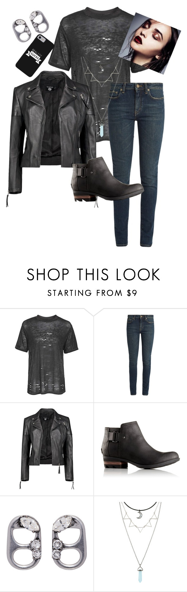 """""""Untitled #960"""" by zeniboo ❤ liked on Polyvore featuring Topshop, Yves Saint Laurent, Boohoo, SOREL and Marc Jacobs"""