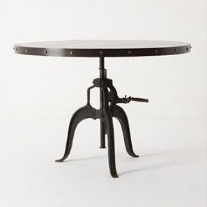 stockbridge round metal dining table with rivets four legs and hand rh pinterest com