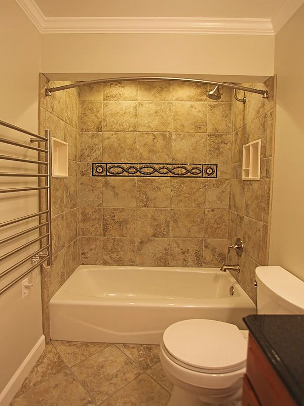 Bathroom ideas on pinterest small bathrooms corner tub Small bathroom remodel tile