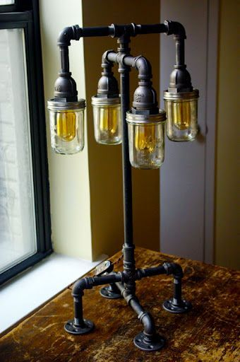 Industrial table lamp with pipes and mason jars DIY Projects - Diy mason jar projects