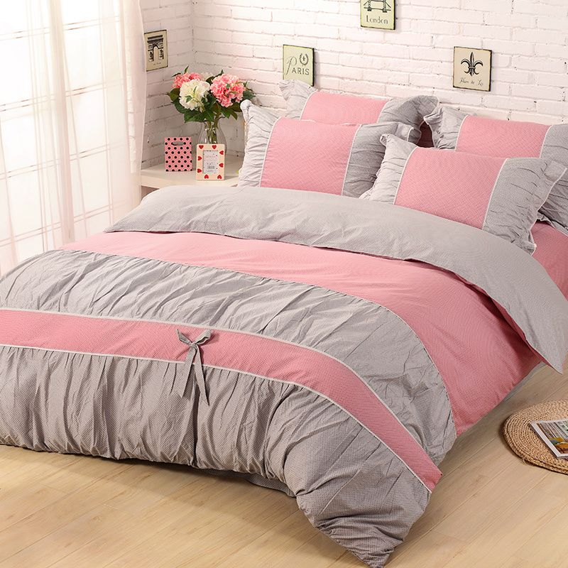 Pink And Gray Bedding 4pcs 100 Cotton Pink And Gray