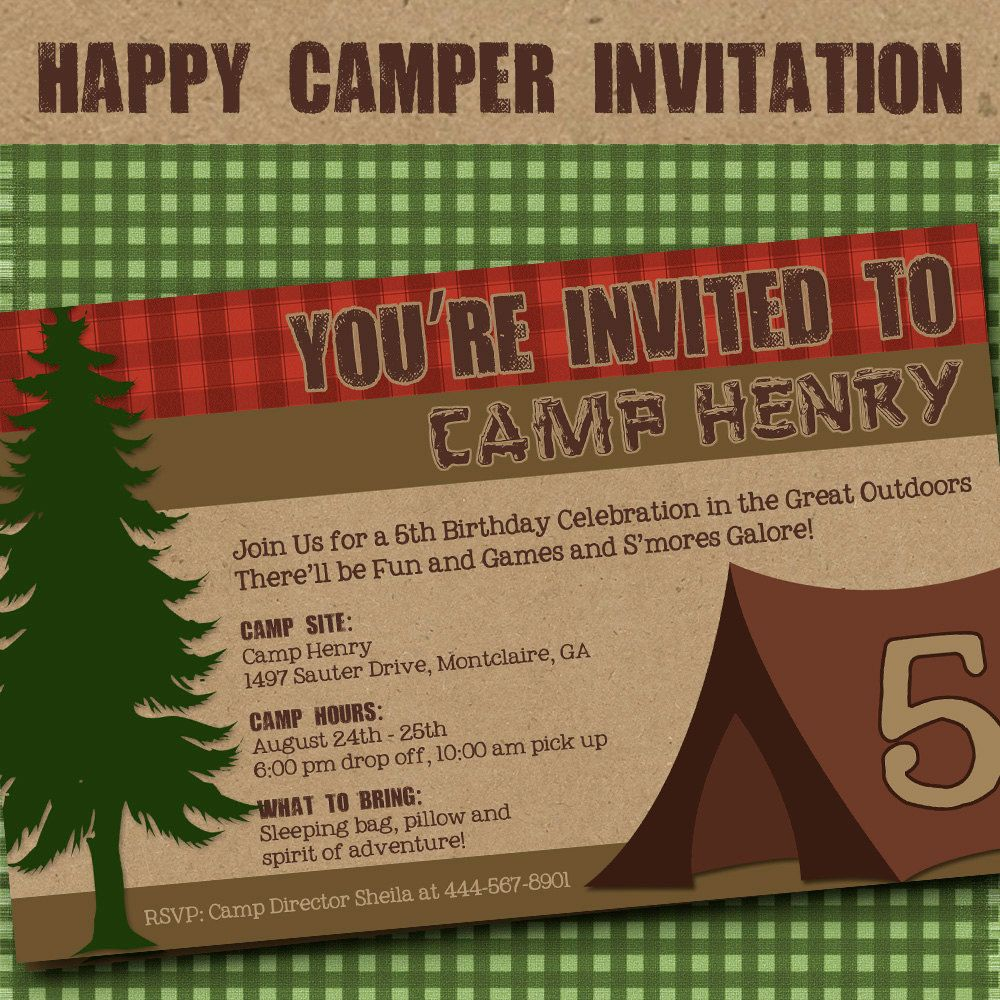 happy birthday invitation pictures%0A Camping Invitation  Party  Birthday Invitation by Amanda u    s Parties TO GO           via