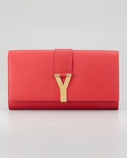 V1ML4 Saint Laurent Y Ligne Clutch Bag, Red