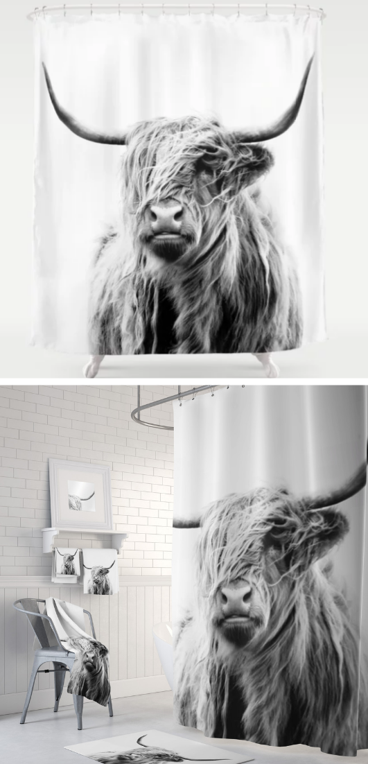 Portrait Of A Highland Cow Shower Curtain By Dorit Fuhg Matching