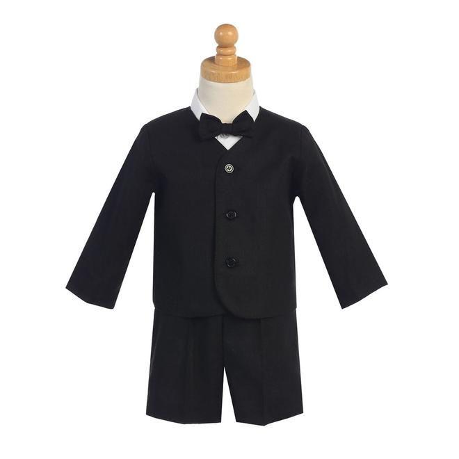 5787610d6ba4 LITO LITO Boys Black 4pc Linen Eton Jacket   Shorts Easter Set 6M-5T ...
