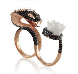 Rock Hunting - Stephen Webster Temptation of Eve snake two-finger ring in 18k rose gold, $41000, stoneandstrand.com.5
