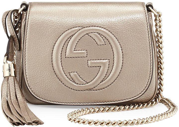 7a5e7fe310c Gucci Soho Metallic Leather Mini Shoulder Bag