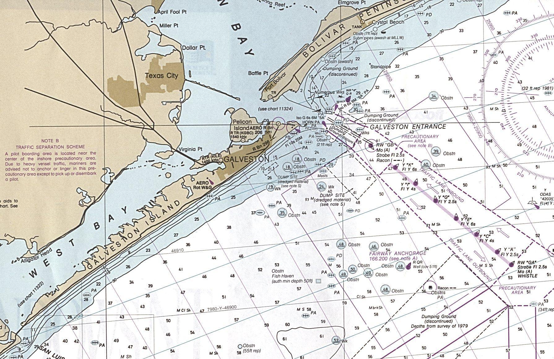 Galveston region texas nautical chart lived here as a child