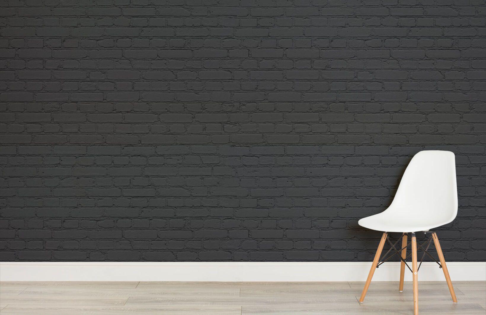 Black Dark Brick Wallpaper Mural Murals Wallpaper B
