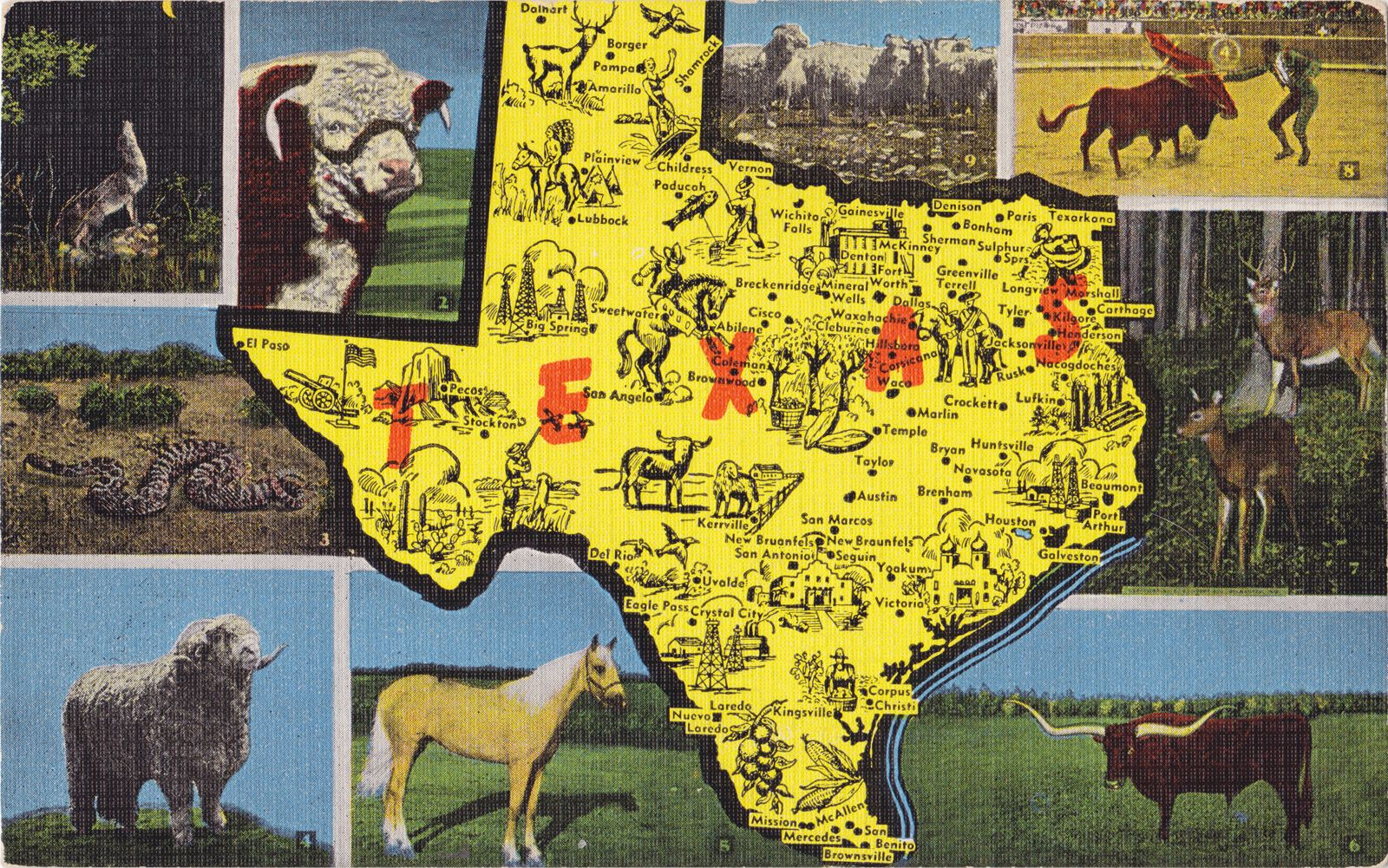 Texas Map postcard Texas Map postcard