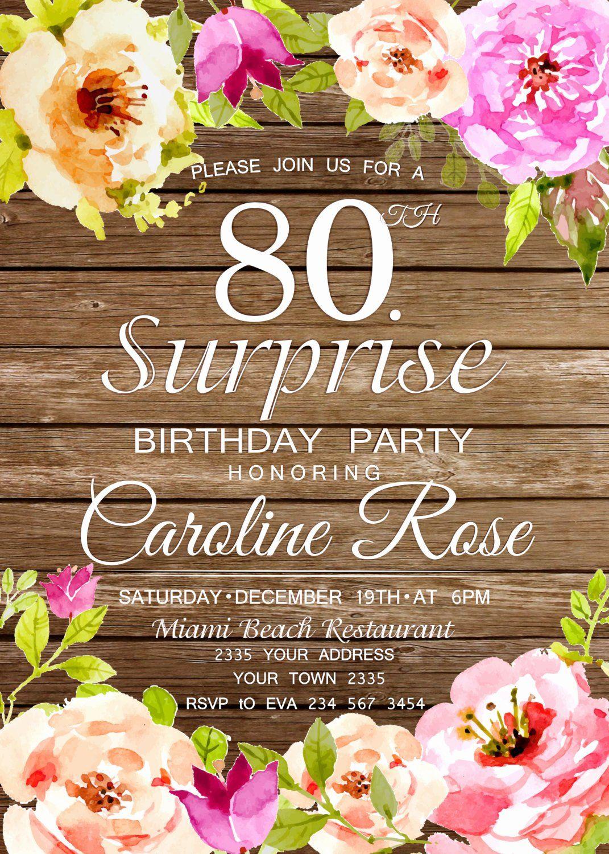 80th birthday party invitations new 80th birthday