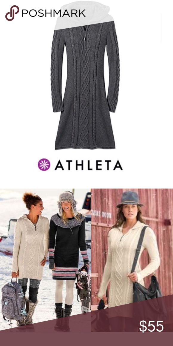 63b4a2fcede EUC Athleta Hut to Hut Cable Knit Sweater Dress S EUC Athleta Hut to Hut  Cable