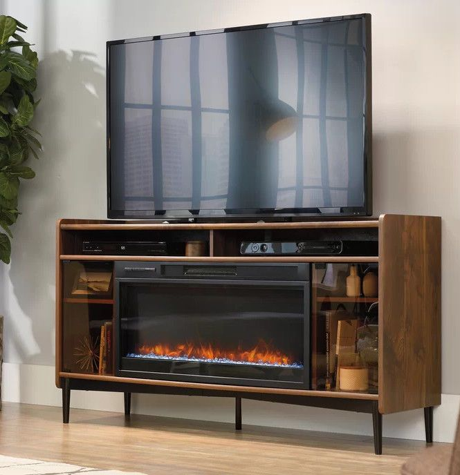 fireplace tv stand large 37 in insert 60 in media console glass rh pinterest com