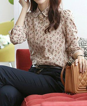 $12.19 Elegant Women's Flat Collar Printed Long Sleeve Chiffon Blouse