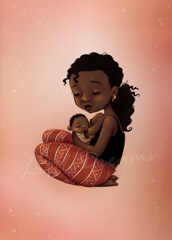 3764d2339e9 Breastfeeding black mother illustration - nursery print