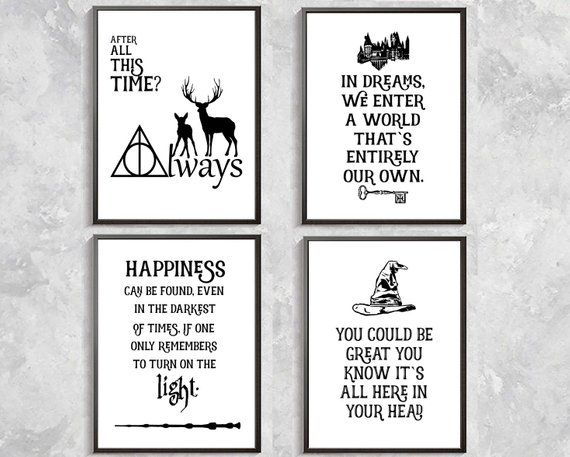 Harry Potter Quotes Print Harry Potter Poster Sorting Hat
