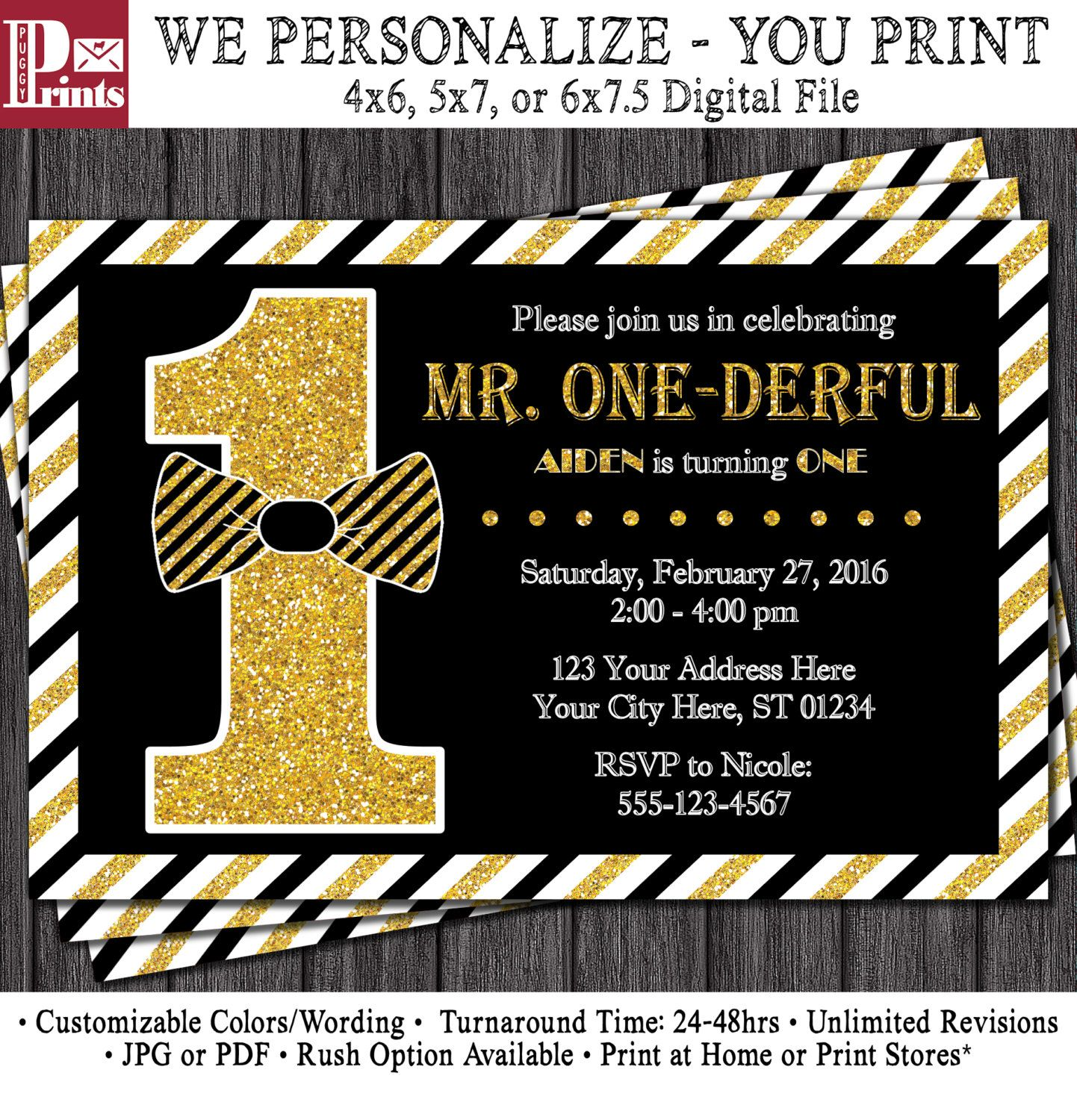 Mr. ONEderful Birthday Invitation • Mr One-derful Tuxedo Birthday ...