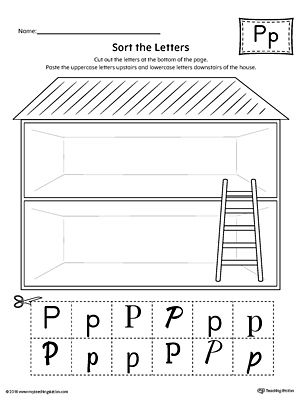 Sort The Uppercase And Lowercase Letter P Worksheet WorksheetPractice Identifying In This Sorting Printable
